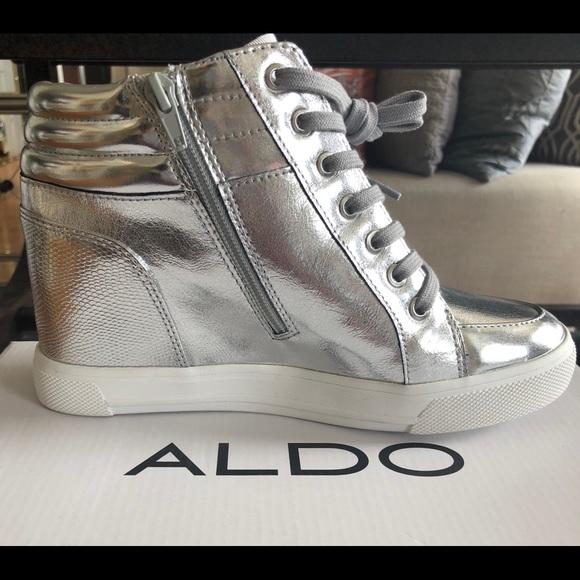 d9bd3c9d937 Aldo Metallic Silver High-Top Sneaker Wedge Shoe
